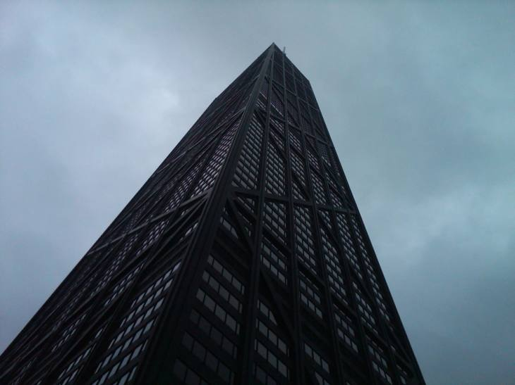 Laying on Ground Before Big John Hancock