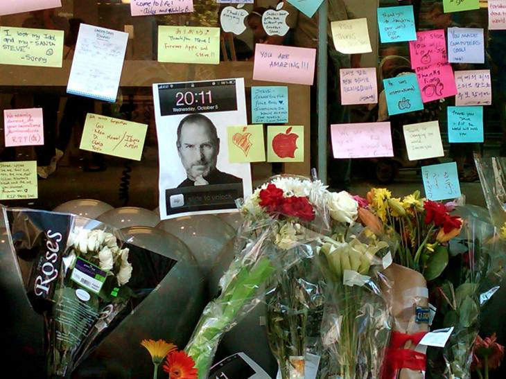 "Mourners Memorialize the Death of Steve Jobs (1955-2011) at Apple Store on Michigan Avenue, Chicago, Illinois (10.8.11).  To Steve:  ""Thank you and may you rest peacefully in paradise."""