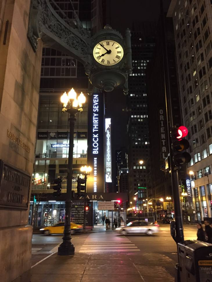 The Old Marshall Fields Clock, Now Macy's on State Street in Chicago (11.26.15)